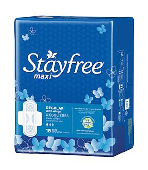 Serviettes Stayfree maxi régulières avec ailes